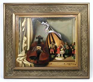 CHARLES CERNY 1950 Oil Painting on Canvas. Still Life.