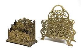 2pc Bradley & Hubbard style Ornate Brass Letter Racks.