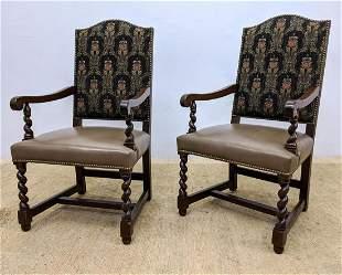 Pr L & J.G. STICKLEY Barley Twist Arm Chairs. Tan Leath