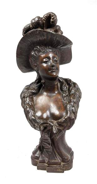 After Louis Hottot Figural Metal Portrait Bust. Woman w