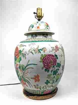 Chinese Pottery Ginger Jar Table Lamp. Colorful flowers