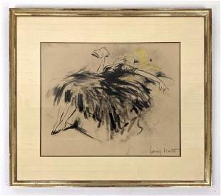LOUIS ICART Charcoal Drawing of Reclining Woman Reading