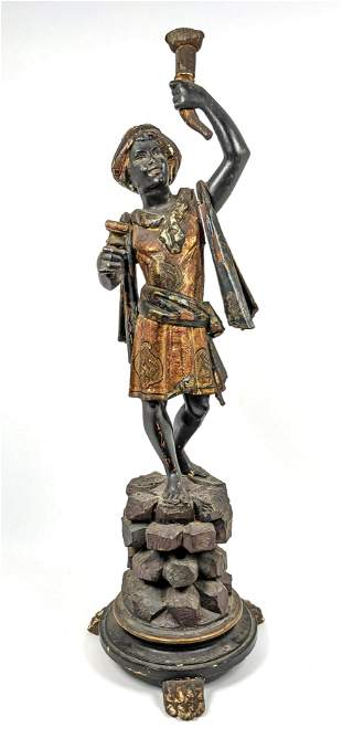 Carved Wood Polychrome Painted Blackamoor Figure.