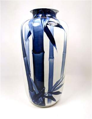 """19"""" Tall Ceramic Art Pottery Vase. Painted blue bamboo"""