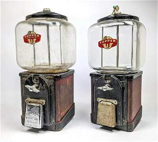 2pcs TOPPER 1c Gum ball Machines. PARKWAY Machine Corp.