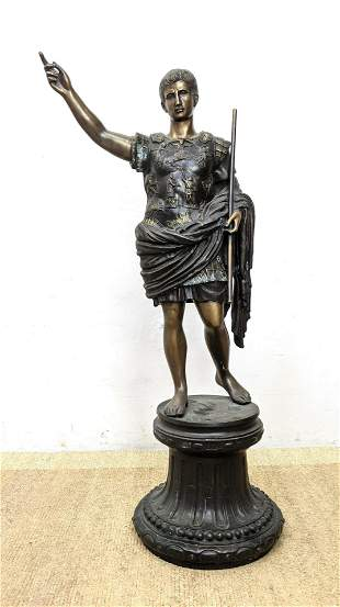 Large Bronze Sculpture of Roman Senator.