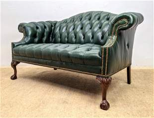 Chesterfield Style Leather Hump Back Sofa Love Seat. B