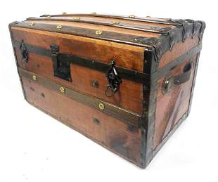 Vintage Wood Trunk with Wood Straps and Metal Trim. Dec