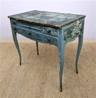 Paint decorated French Style Vanity Desk.