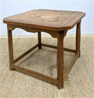 Ranch Oak Table. Decorative skirt.