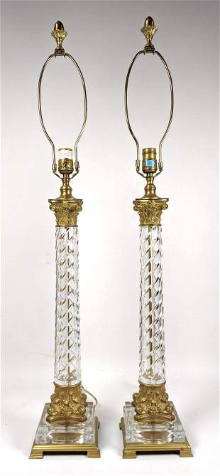 Pair Gilt Metal Mounted Crystal Lamps. Twisted Columns