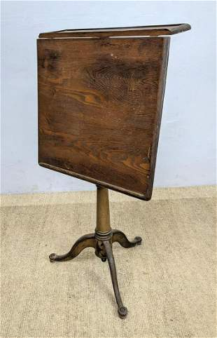 Industrial Wood and Iron Artist's Drafting Table. Adjus