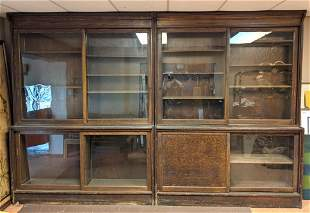 Pair Large Oak Apothecary Store Display Cabinets. Slidi