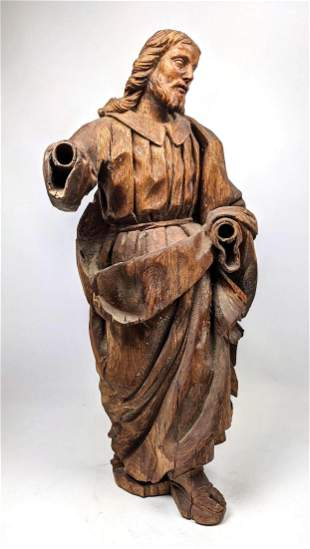 Vintage Carved Wood Figure. Carving of man in Continent