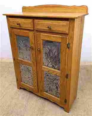 Oak Server Pie Safe Style Cabinet. Punched Tin Doors.