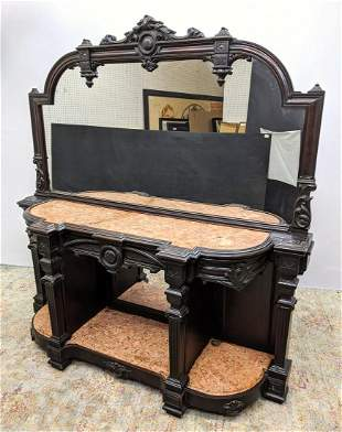 Ebonized Victorian Sideboard Server Cabinet with Large