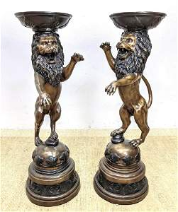 Pair Tall Bronze Lion Form Pedestal Stands. Figural lio