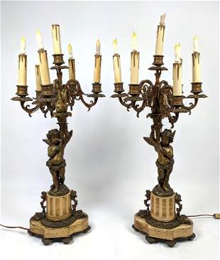 Pr Vintage Candelabra style Table Lamps. Winged puttis