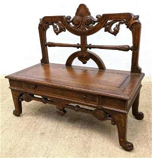 Victorian Bench Low Table with 1 Drawer. Eastlake.