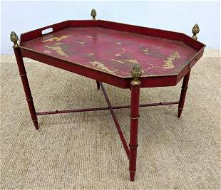 BERGDORF GOODMAN Red Lacquered Tray Table. Asian Design