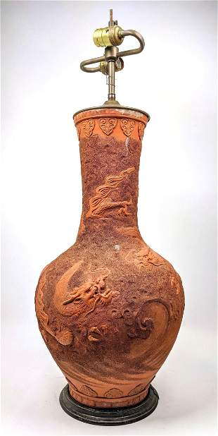 Carved Pottery Asian Table Lamp. Dragon Design.