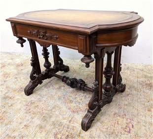 Victorian Walnut Center Table with 1 Drawer. Leather t