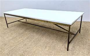 PAUL McCOBB Brass Frame Cocktail Coffee Table. Thick w