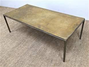 Italian Designer Brass Metal Coffee Table. Signed. Etch