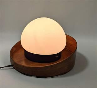 Danish Modern Teak Lamp. Glass Globe. Could be mounte
