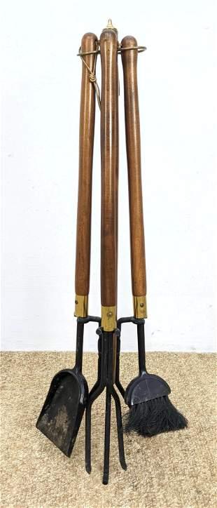 Set of Seymour Wood handle Mid-century Fireplace tools.