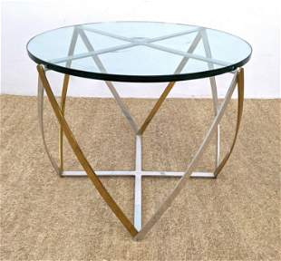 JOHN VESEY Occasional Side Table. Two Tone Metal Base