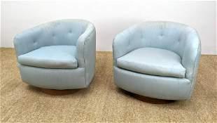 Pr Milo Baughman Swivel Lounge Chairs. Light Blue Uphol