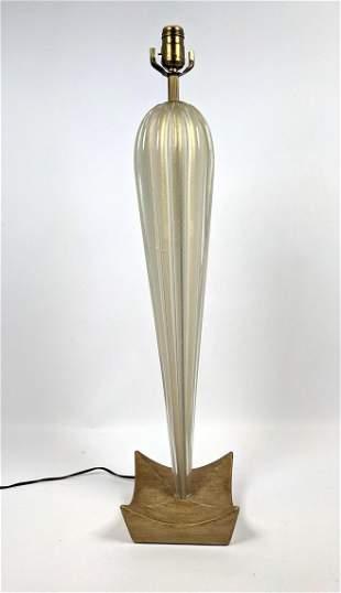 Tall Murano Glass Table Lamp. Wood Base.