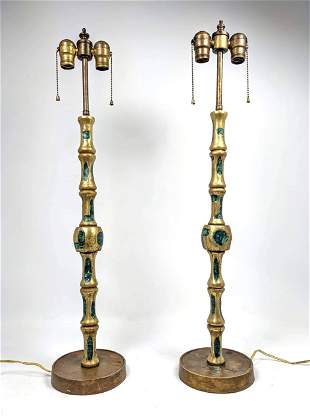 Pair Stamped Mendoza Brass and Enamel Table Lamps.