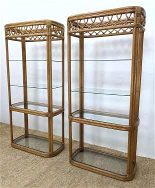 Pr Modernist Wrapped Rattan Glass Shelf Etageres. Displ