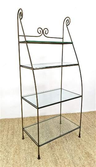 Gilt Rebar Iron Etagere Shelf Unit. Glass shelves.