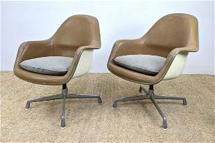 Pair of Herman Miller Leather shell chairs. Eames Leath