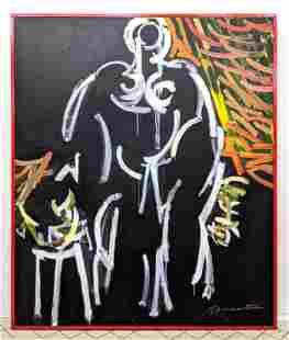 GEORGE D'AMATO Large Gestural Figure Oil Painting. Life