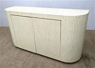 Lacquered Bamboo Style Sideboard Credenza. Curved ends.