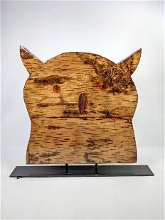 Birch Bark Wood Owl Head Figure. On metal Stand. Signed
