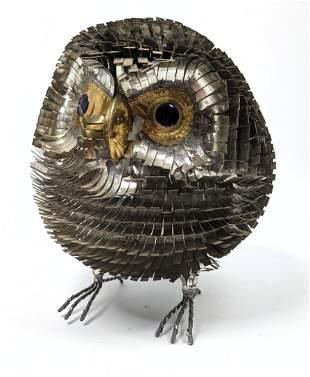 Brutalist Metal Owl Sculpture. Cut tin.