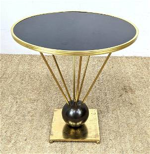 Designer Black and Brass Round Side Table. Ball base su