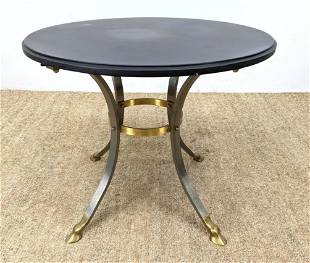 Regency style steel and brass round accent table. Hoof