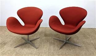 Pr ARNE JACOBSEN Swan Lounge Chairs. FRITZ HANSEN Manuf