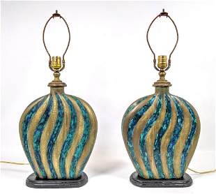 Pair Stamped Mendoza Table Lamps. Heavy Mexican Bronze