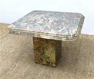 Figured Stone Square Side End Table. Square Column Pede