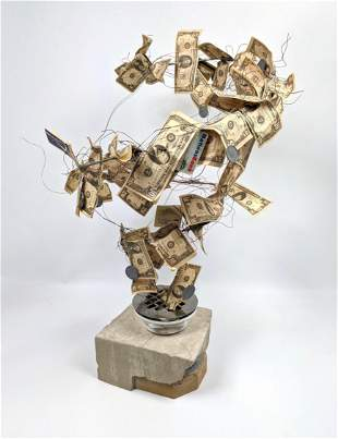 Artisan Sculpture of Money Going Down The Drain. Concre