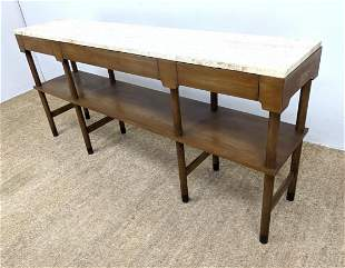 J STUART Travertine Marble Top Hall Table. American Mod