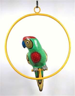Paper Mache Figural Parrot on Hanger. Colorful Hand Pai