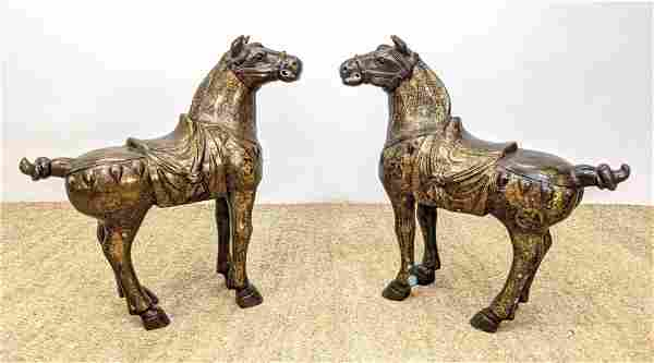 Pr Bronze Chinese Figural Horse Sculptures